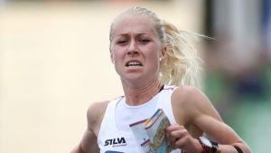 Orienteraren Maja Alm från Danmark tog sitt andra VM-guld på två dagar.
