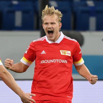 Joel Pohjanpalo firar Union Berlins 2–1-ledningsmål i matchen mot Hoffenheim.
