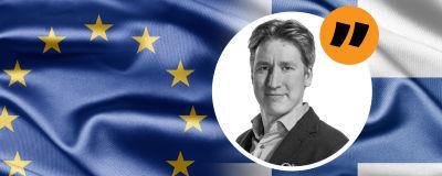 Kommentatorns bild mot bakgrund av EU-motiv.