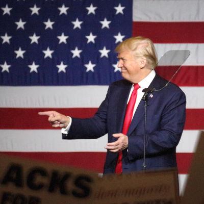 Republikanska presidentkandidaten Donald Trump vid kampanjevenemang i West Palm Beach, Florida den 13 oktober 2016.