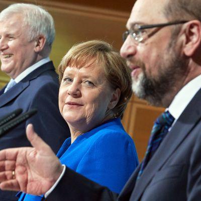 Horst Seehofer, Angela Merkel och Martin Schulz