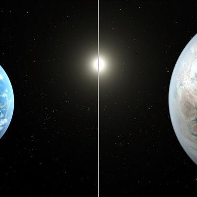 Illustrationsbild där jorden jämförs med exoplaneten  Kepler 452b.