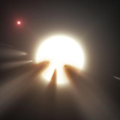 Konstnärens vision av kometer runt en stjärna.