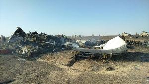 Det som finns kvar av det ryska planet efter kraschen på Sinaihalvön den 31 oktober 2015.