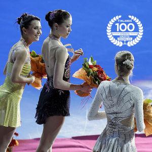 Susanna Pöykiö, Laura Lepistö och Carolina Kostner på prispallen, EM 2009.