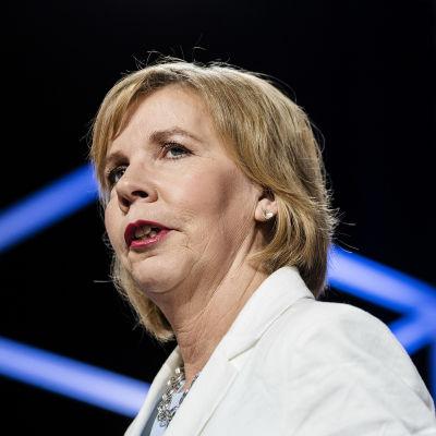 RKP:n puheenjohtaja Anna-Maja Henriksson osallistui Pasilassa Ylen kuntavaalitenttiin 27. toukokuuta.