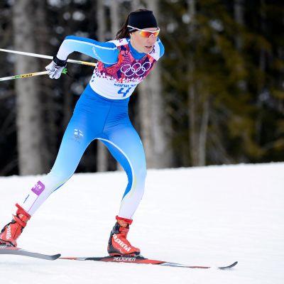 Mona-Liisa Nousiainen Sotshin olympialaisissa.