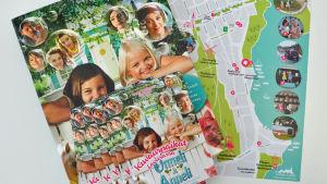 Karta över platser i Lovisa där filmerna om Ada och Glada har spelats in.