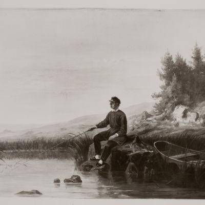 Johan Ludvig Runeberg metar vid strand. Fotografi av signerad oljemålning av Johan Knutson.