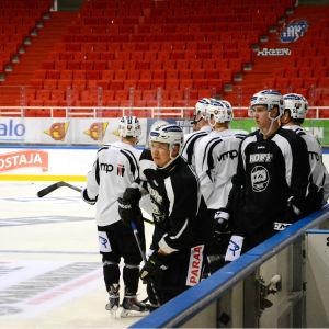 Petteri Nummelin och andra spelare från hockeylaget TPS