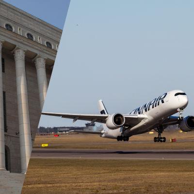 Riksdagen och ett Finnair-plan