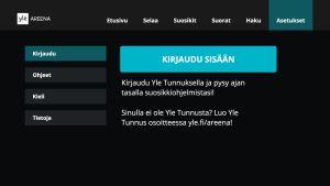 Kirjautumisnäkymä Yle Areenan äly-tv-sovelluksessa
