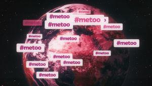 En grafisk bild av jorden sett från rymden, över det hela står det #metoo.