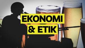Ekonomi och etik står med gult framför vapen och alkohol