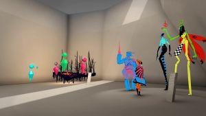 Konstverk inne i den virtuella världen.