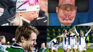 Collage av fyra bilder: Kaisa Mäkäräinen, Akilles bandy, Robert Helenius och Finlands fotbollsdamer.