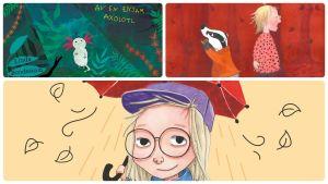 """På bilden syns ett kollage av pärmarna till barnböckerna """"Grävling borta"""", """"Mitt bottenliv - av en ensam axolotl"""" och """"Maggan året runt""""."""