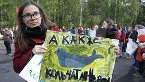 Marina Parkina från en demonstration i Primorsk ifjol.