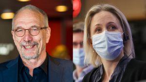 En äldre man i glasögon och skägg och en kvinna med ett munskydd.