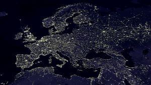 Europa nattetid sett från rymden.