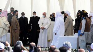 Påven Franciskus under det interreligiösa mötet i Ur, Nasiriyya.