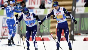 Eero Hirvonen och Ilkka Herola i farten på lördagen.