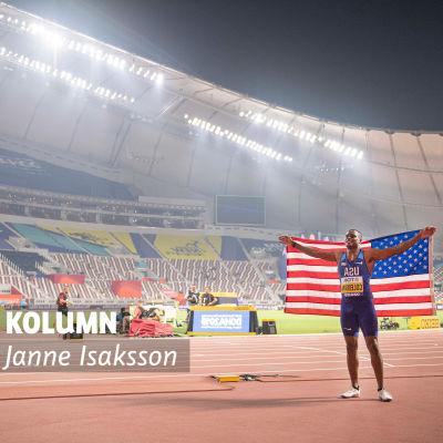 Christian Coleman firar efter VM-guldet. Med Janne Isakssons kolumnvinjett.