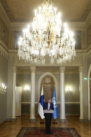 Sauli Niinistö spelar in sitt videotal som hölls inför FN:s generalförsamling 23.9.2020