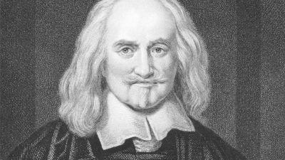 Gravyr föreställande Thomas Hobbes.
