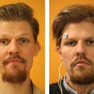 Vasemmalla toimittaja Jussi Nygren ennen testin alkua, oikealla Nygren nukuttuaan viikon 4-tuntisia yöunia.