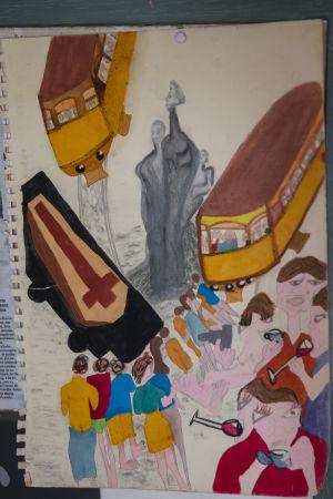 Maria Neves har målat en bild som föreställer ett Lissabon som översvämmats av turister.