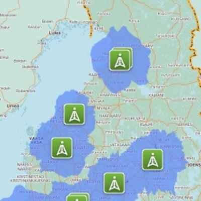 Digitan kanavanippu D:n näkyvyysalueen rajat kartalla