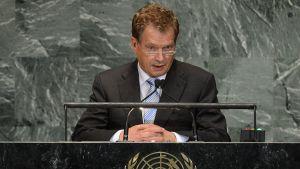 Sauli Niinistö under FN:s kongress för ursprungsfolk.