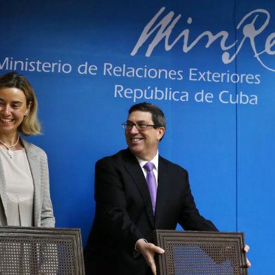 EU:s utrikeschef  Federica Mogherini och Kubas utrikesminister Bruno Rodriguez