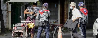 Soldater i Myanmars största stad Rangoon