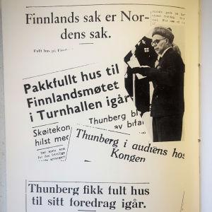 Foto på norska rubriker från Clas Thunbergs bok Isen var mitt liv.