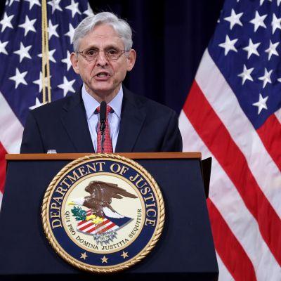 USA:s justitieminister Merrick Garland höll ett tal på justitieministeriet den 15 juni.
