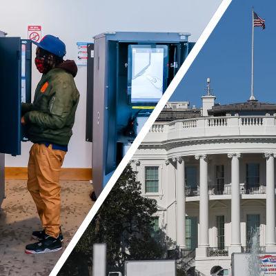 Bildcollage. Till vänster syns en person som röstar i det amerikanska presidentvalet år 2020. Till höger syns Vita huset.