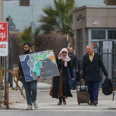 Gränsen mellan Syrien och Turkiet 28.2.2020. Gränsövergången i Cilvegozu i distriktet Reyhanli nära Hatay  i Turkiet.
