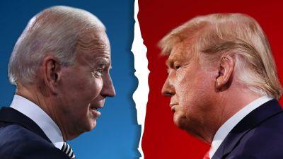 Bildmontage med Joe Biden mot blå bakgrund och Donald Trump mot röd