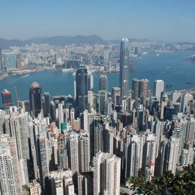 Vy över Hongkongs skyskrapor.