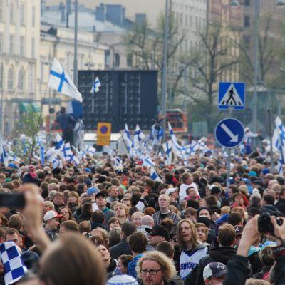 Många var på plats för att fira hockeyguldet 2011.