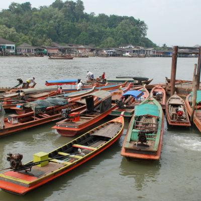En hop med båtar, i bakgrunden en flod och grönska på andra stranden.