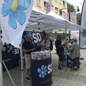 Sverigedemokraterna gör valkampanj och talar med förbipasserande på en gågata.