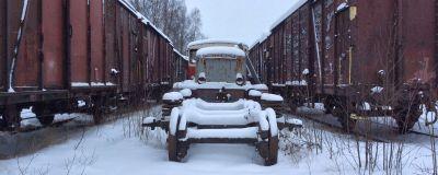 En vintrig järnvägsstation