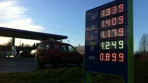 Neste Oil bensinmack i Köklax i Esbo