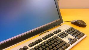 På bilden syns en del av en datorskärm, en del av ett tangentbord och datormusen.