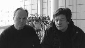 Talvisotatietäjä -ohjelman toimittaja Seppo Heikkinen ja tuomari Teemu Keskisarja