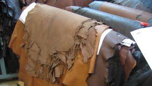 Lädersortimentet vid Karleby läderfabrik