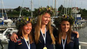 Mikaela Wulff, Silja Kanerva och Silja Lehtinen vann VM-guld i Göteborg
